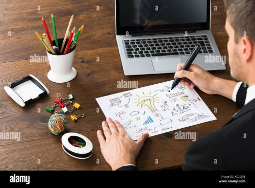 small resolution of close up of businessman with office supplies and laptop drawing diagram of start up plan at desk