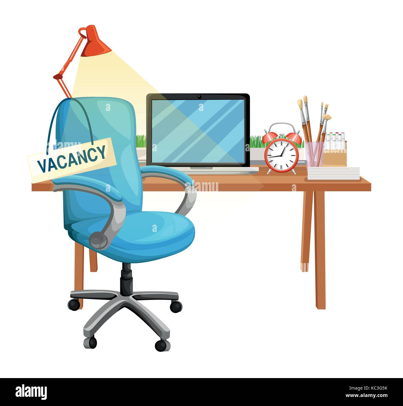 office chair illustration swivel mustard yellow composition with and a sign vacant business hiring recruiting concept vector web site page mobile app design elem