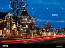 Main Street Shops Decorated With Christmas Lights Estes