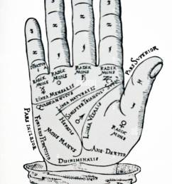 a palmistry chart used in the foretelling of the future through the study of the palm [ 923 x 1390 Pixel ]