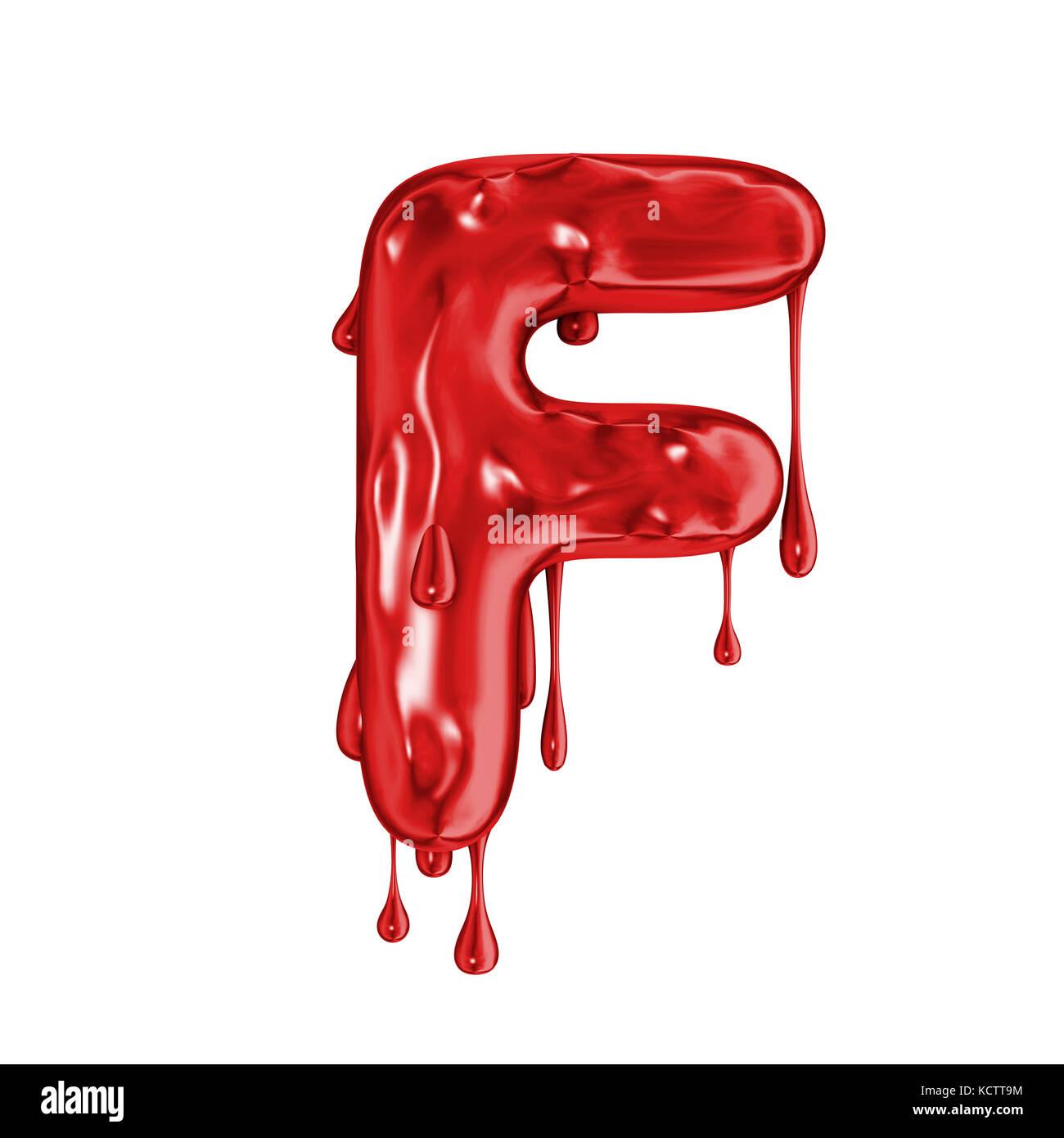 Blood Font Halloween Horror Letter F Stock Photo