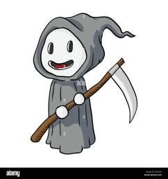 cartoon halloween death monster grim reaper vector illustration stock vector [ 1300 x 1390 Pixel ]