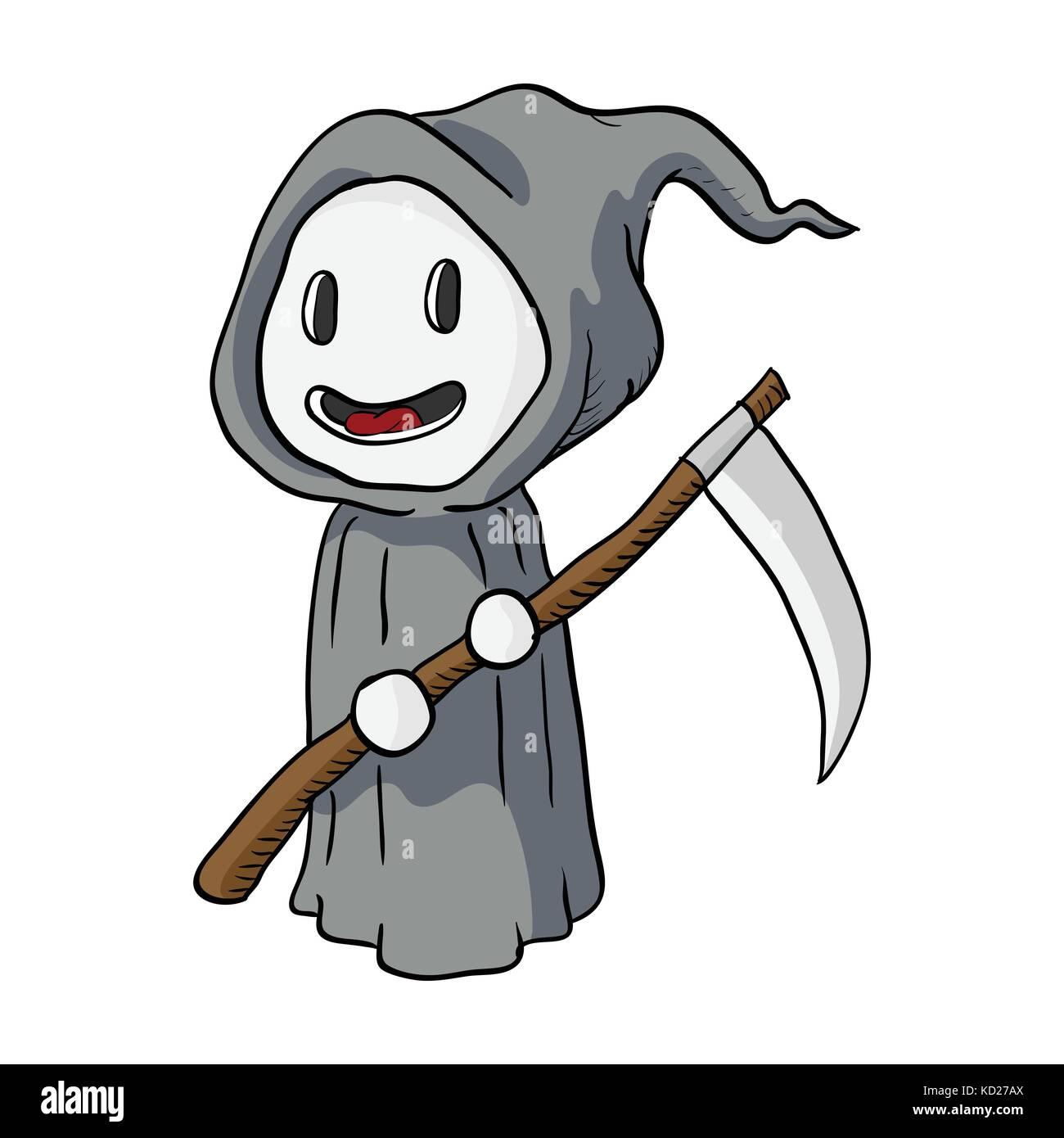 hight resolution of cartoon halloween death monster grim reaper vector illustration stock vector