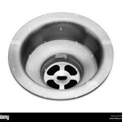 Kitchen Sink Drain Buffet Cabinets Metal Isolated On White Background Stock Photo