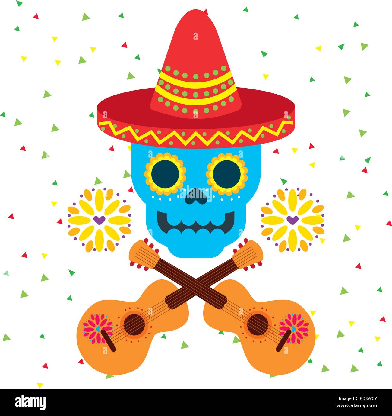 hight resolution of day of the dead skull with floral ornament stock vector