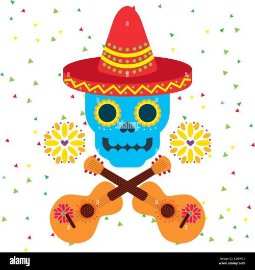 small resolution of day of the dead skull with floral ornament stock vector