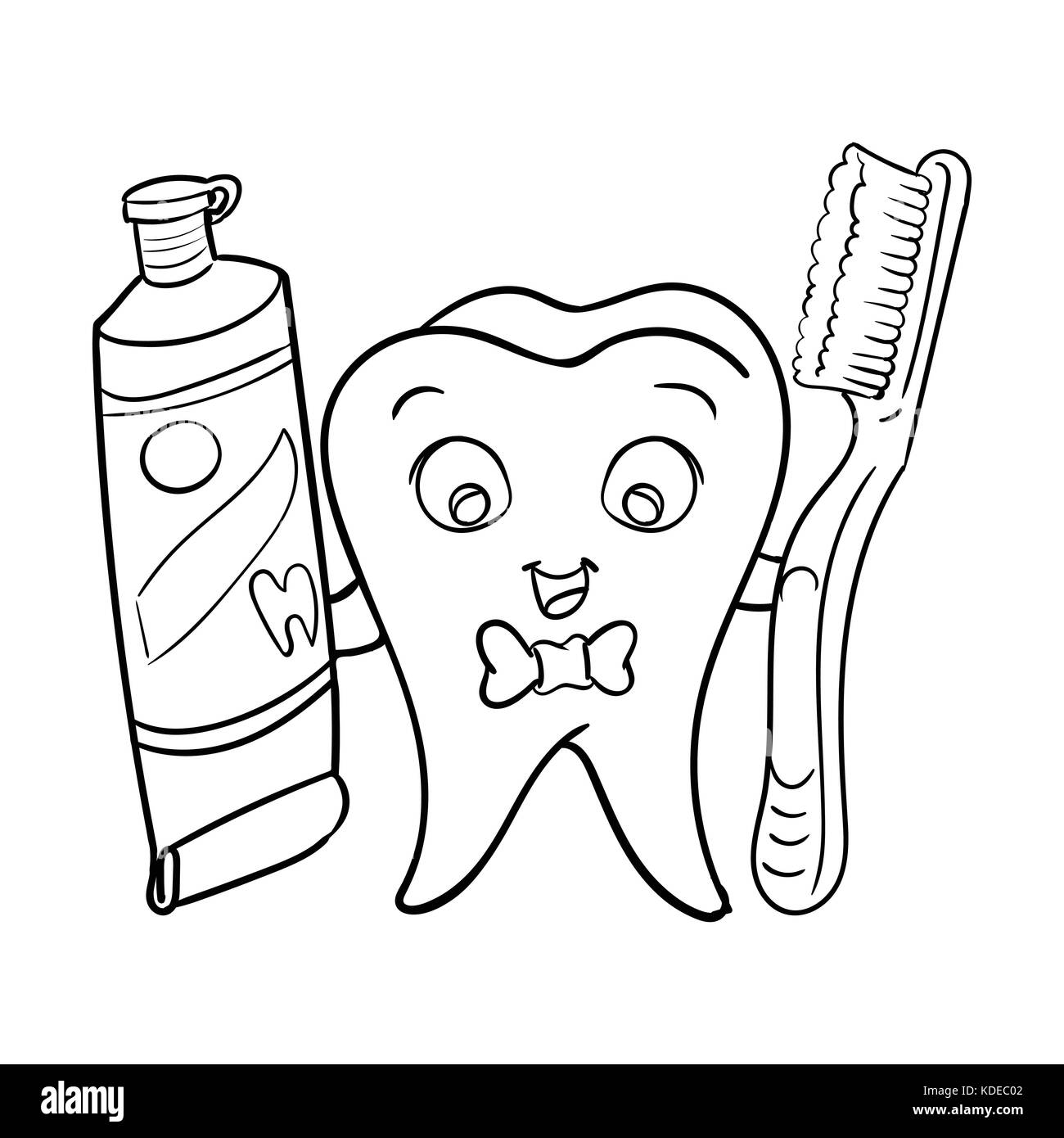 Cartoon Smiley Dental Tooth Holding Tooth Paste And Tooth