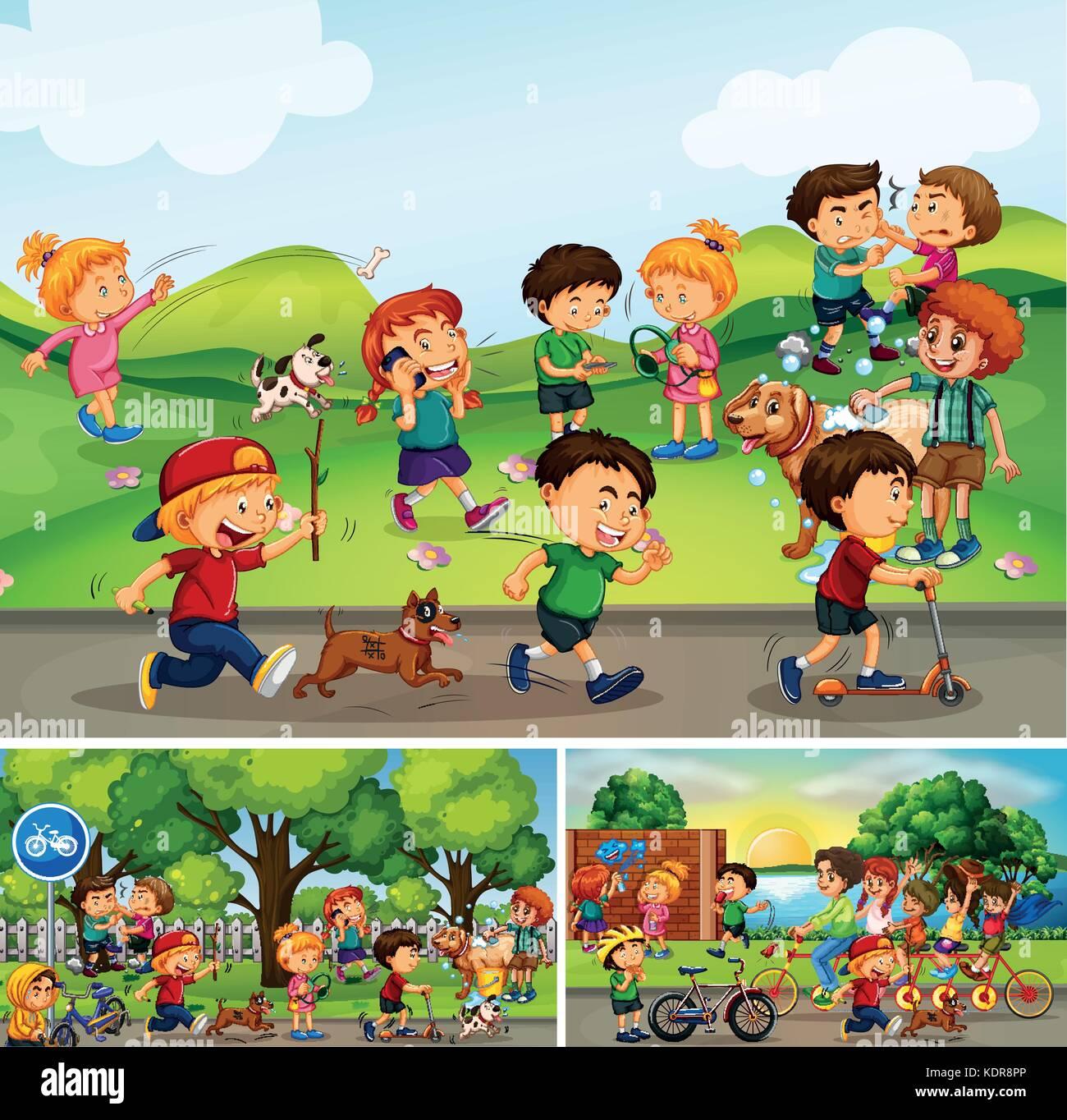 Many Children Doing Things In Park Illustration Stock