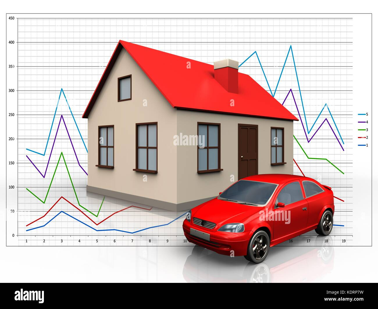 hight resolution of 3d illustration of house with car over diagram background