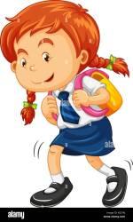 Girl with schoolbag walking illustration Stock Vector Image & Art Alamy