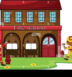 firemen working at the fire station illustration [ 1300 x 928 Pixel ]