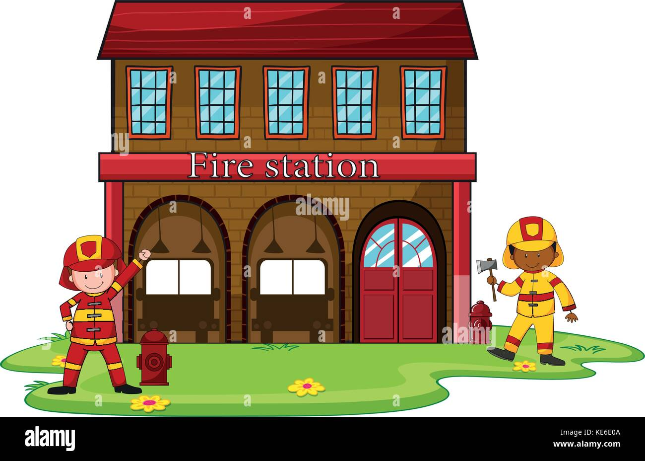 hight resolution of firemen working at the fire station illustration