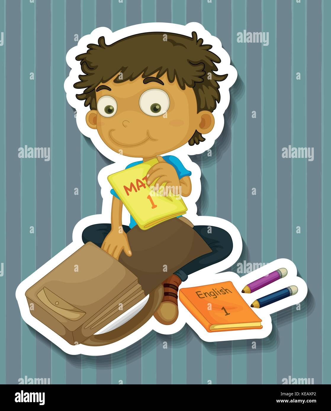 Boy Packing School Bag With Textbooks Stock Vector Art