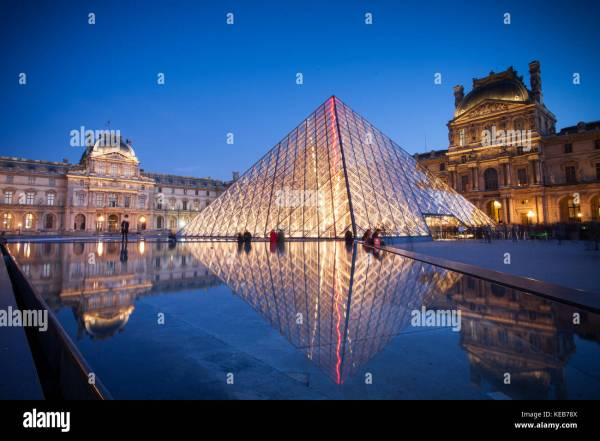 Louvre Museum Paris France at Night