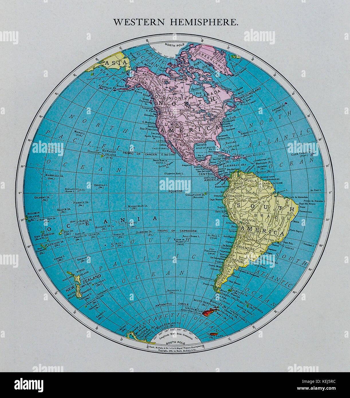 Mcnally Antique World Western Hemisphere Map Showing