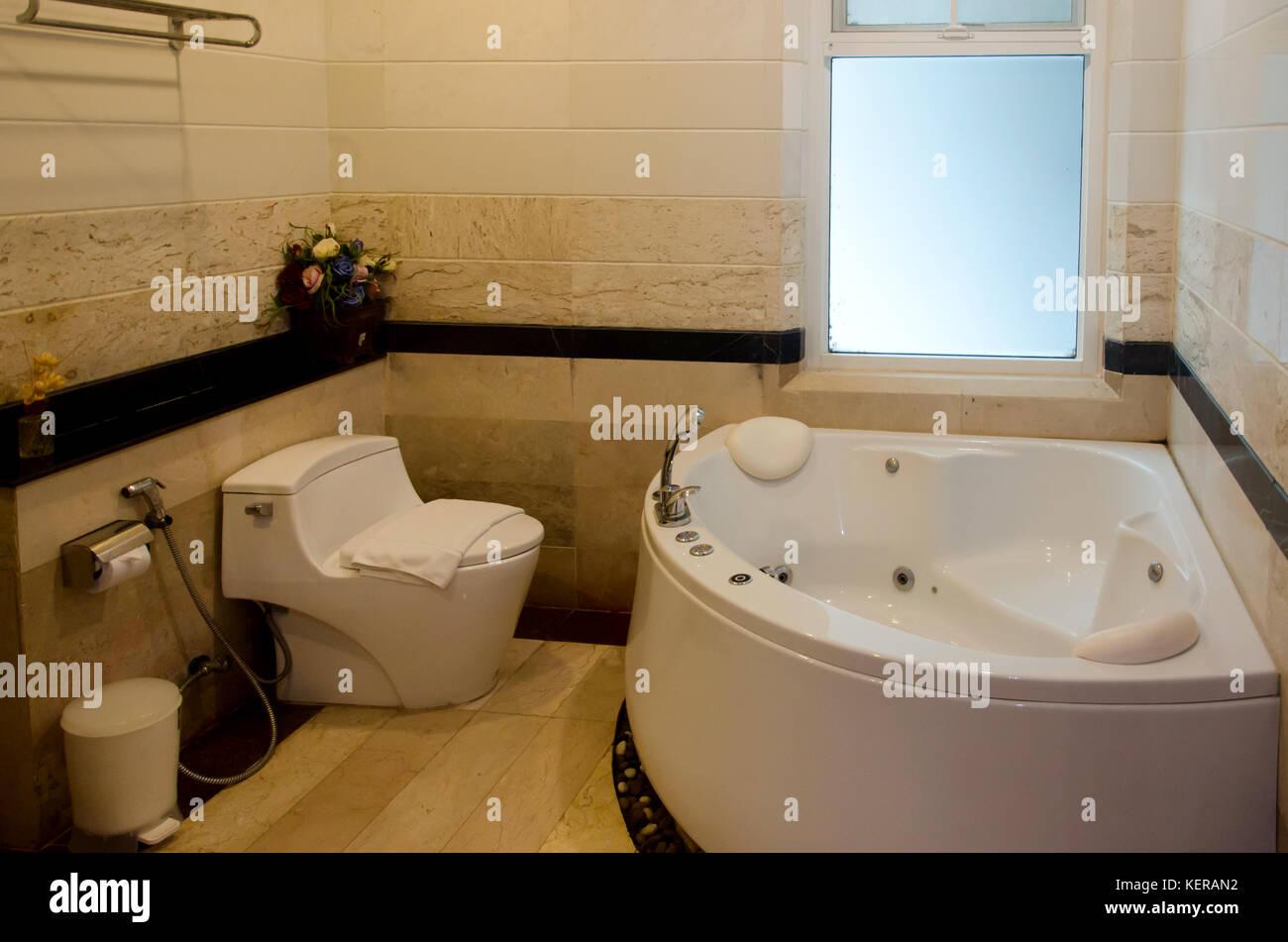Modern Bathroom Interior With Bathtubs And Sinks Stock Photo Alamy