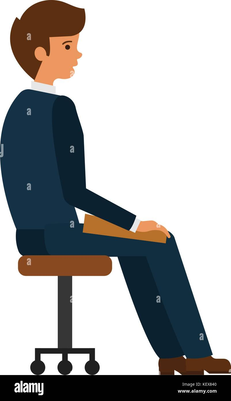 office chair illustration best for sciatica nerve pain man sitting at cartoon flat vector concept on isolated white background