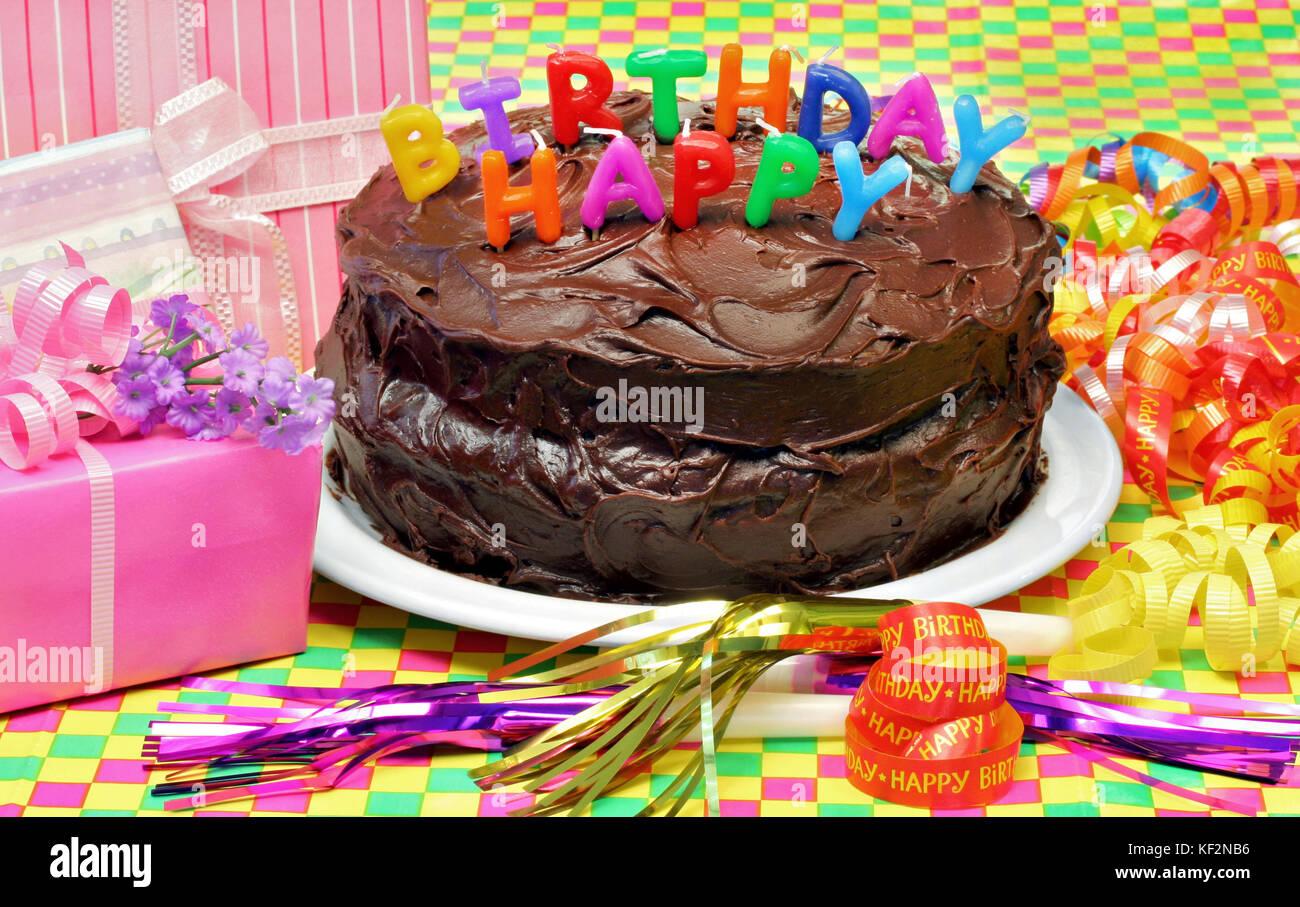 A Chocolate Happy Birthday Cake With Happy Birthday