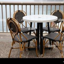 Parisian Cafe Table And Chairs Chair Covers Birmingham Uk Four Stock Photos