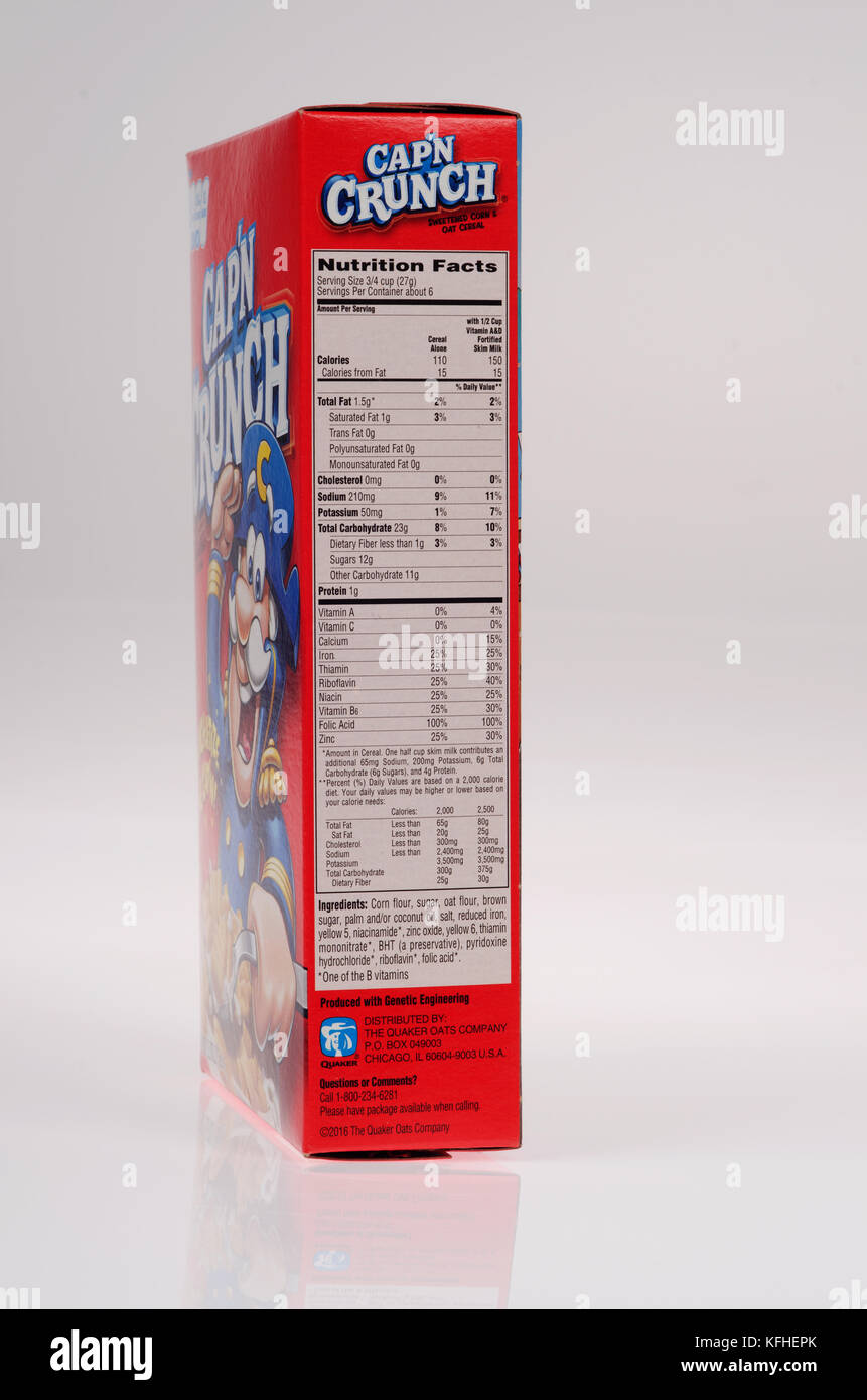 Cap N Crunch Nutrition Label : crunch, nutrition, label, Calories, Nutrition, Label, Resolution, Stock, Photography, Images, Alamy