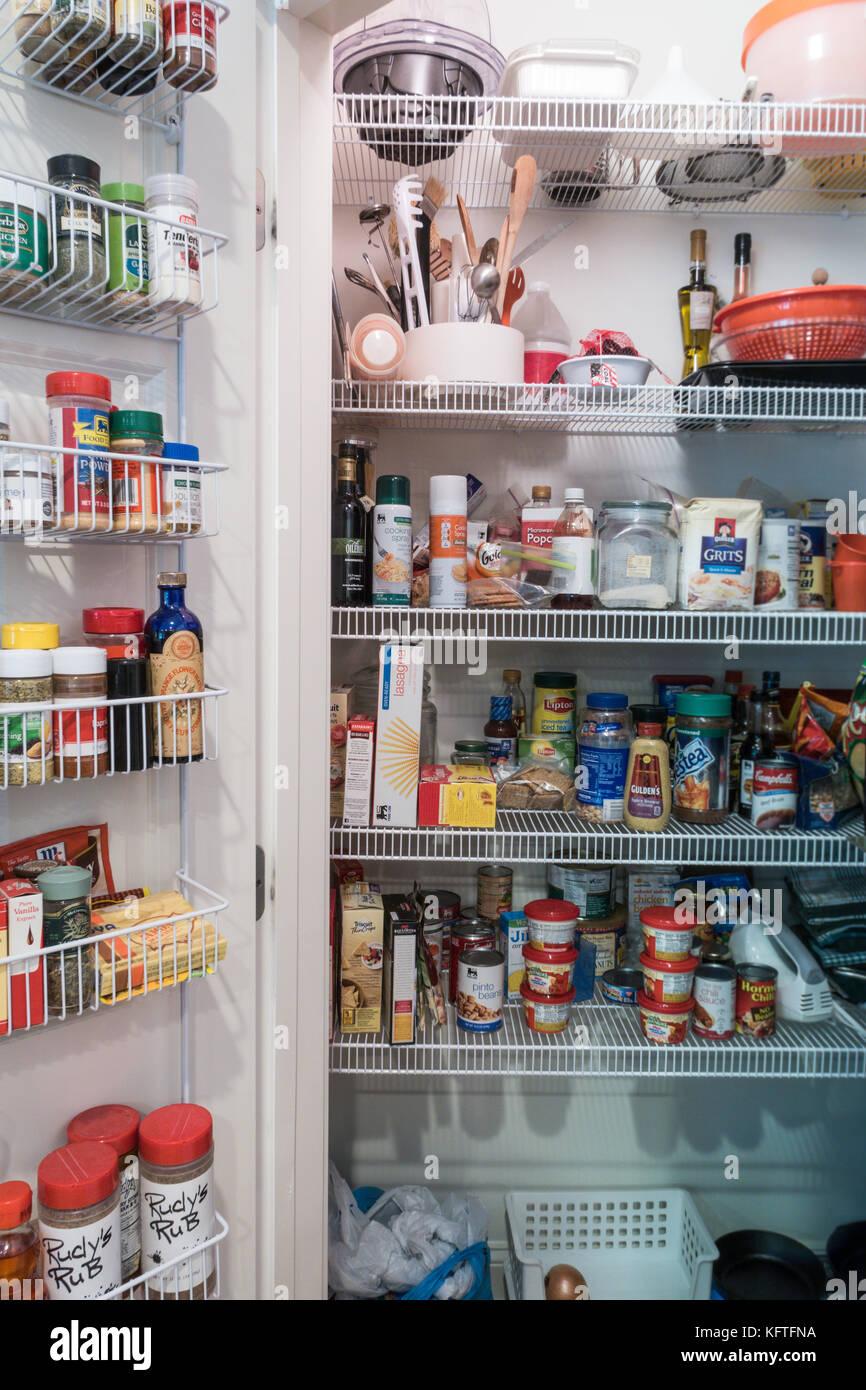 large kitchen pantry corner shelves walk in usa stock photo 164652358 alamy