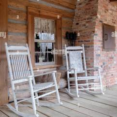Alabama Rocking Chair Posture Fixing Old Fashioned White Chairs On The Front Porch Of An Cabin In Rural Usa