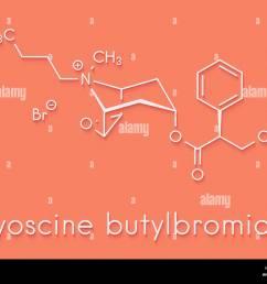 butylscopolamine hyoscine butylbromide scopolamine butylbromide butylhyoscine drug molecule used in treatment of abdominal and menstrual cramps  [ 1300 x 1029 Pixel ]