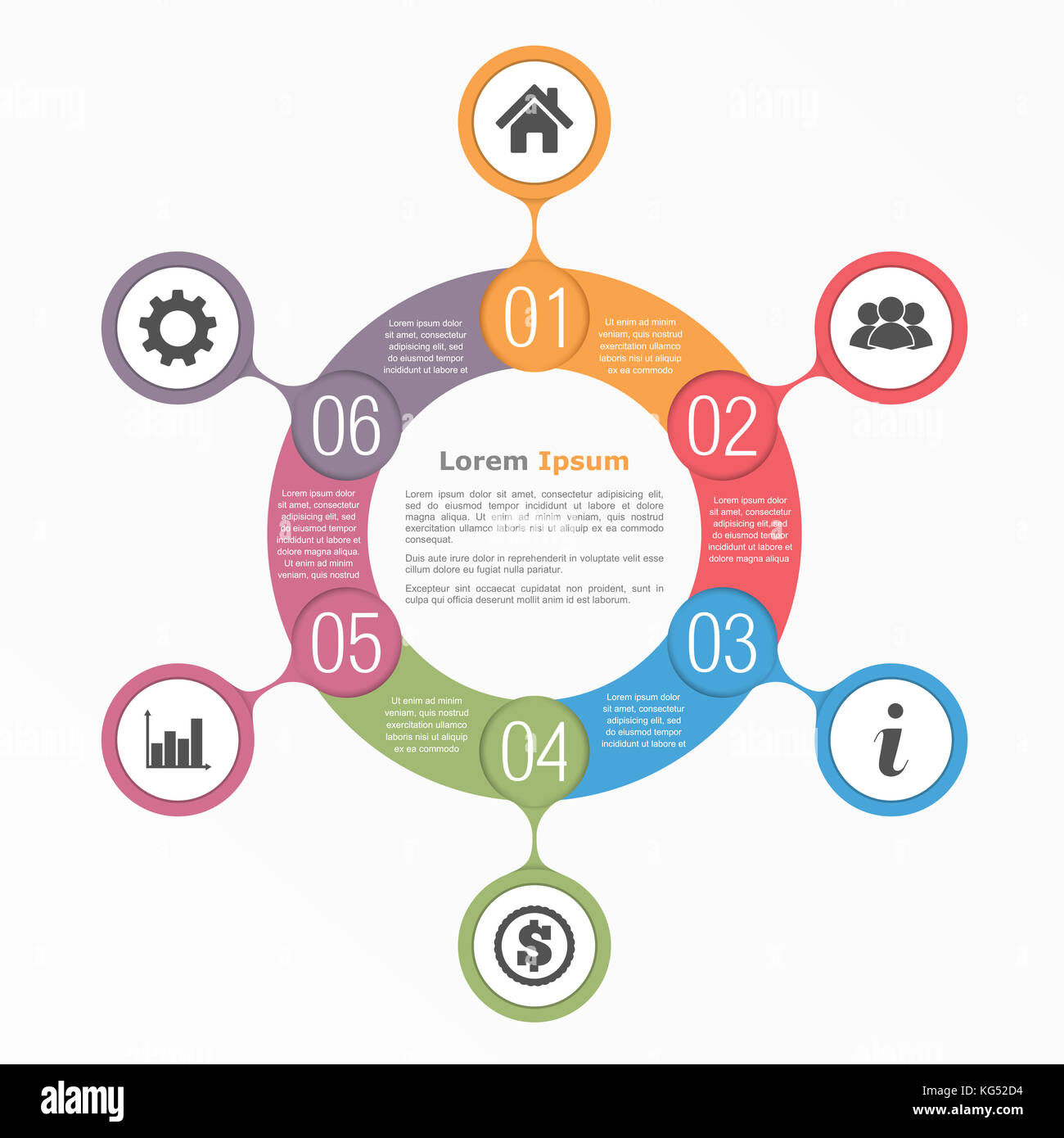 Circle diagram with six elements with icons and text, flow chart ...