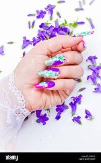 Purple Acrylic Nails Stock Photos & Purple Acrylic Nails ...