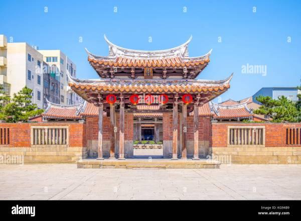 Facade Chinese Temple Entrance Stock &