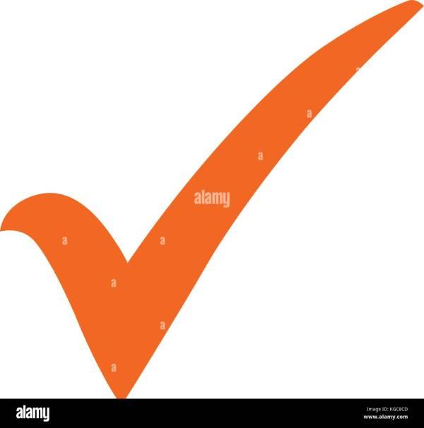 Orange Check Mark Icon. Tick Symbol In Color