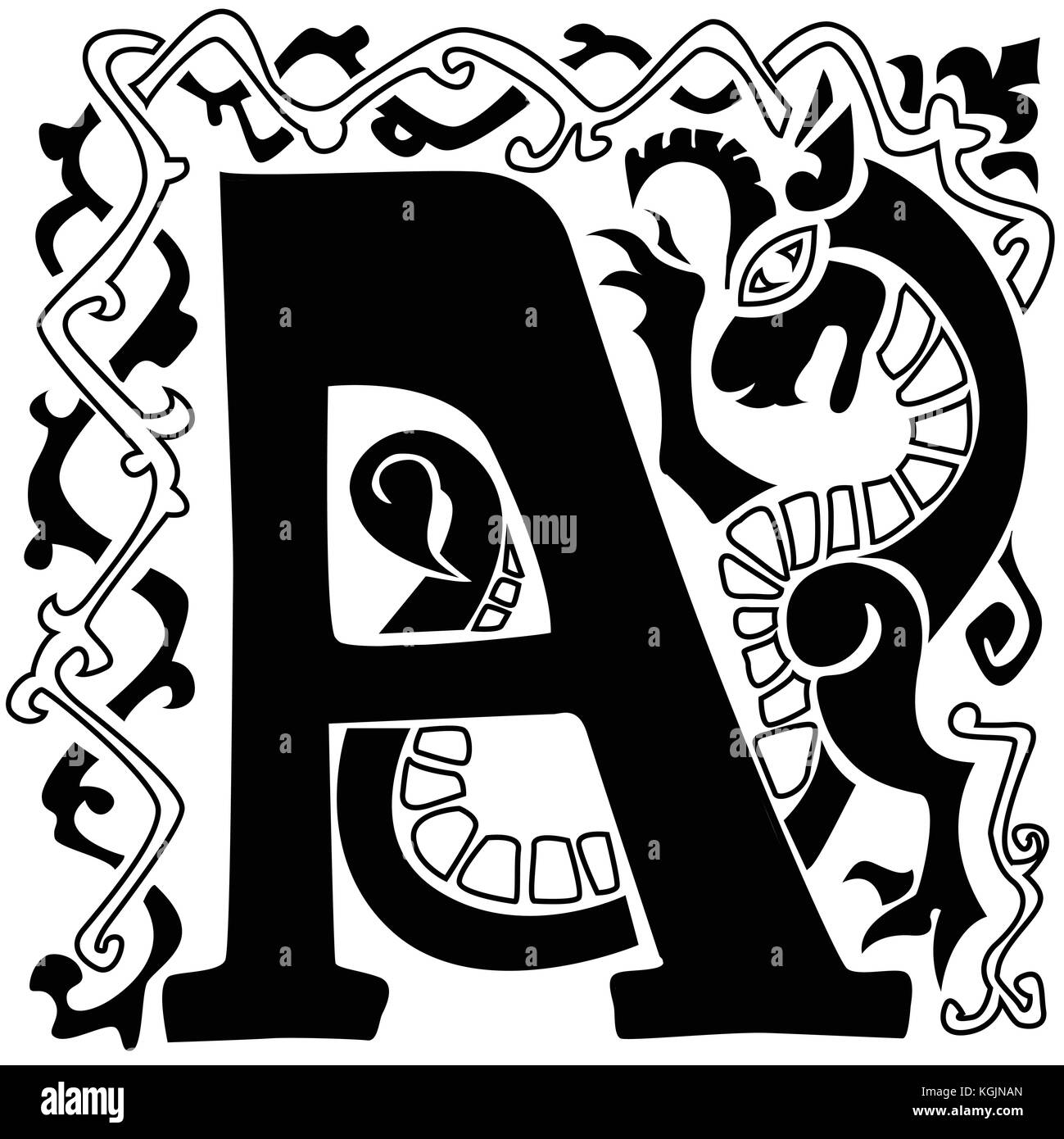 hight resolution of gargoyle capital letter a stock image