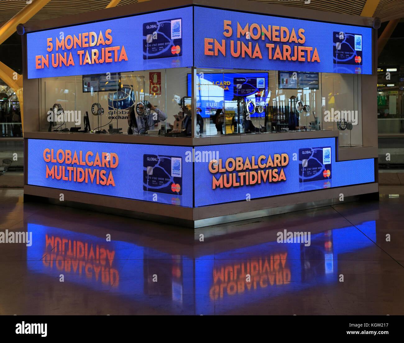money exchange booth office cambio bureau de change terminal 4 madrid airport spain