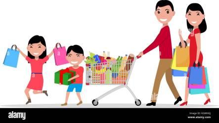 Vector cartoon happy family shopping supermarket Stock Vector Image & Art Alamy