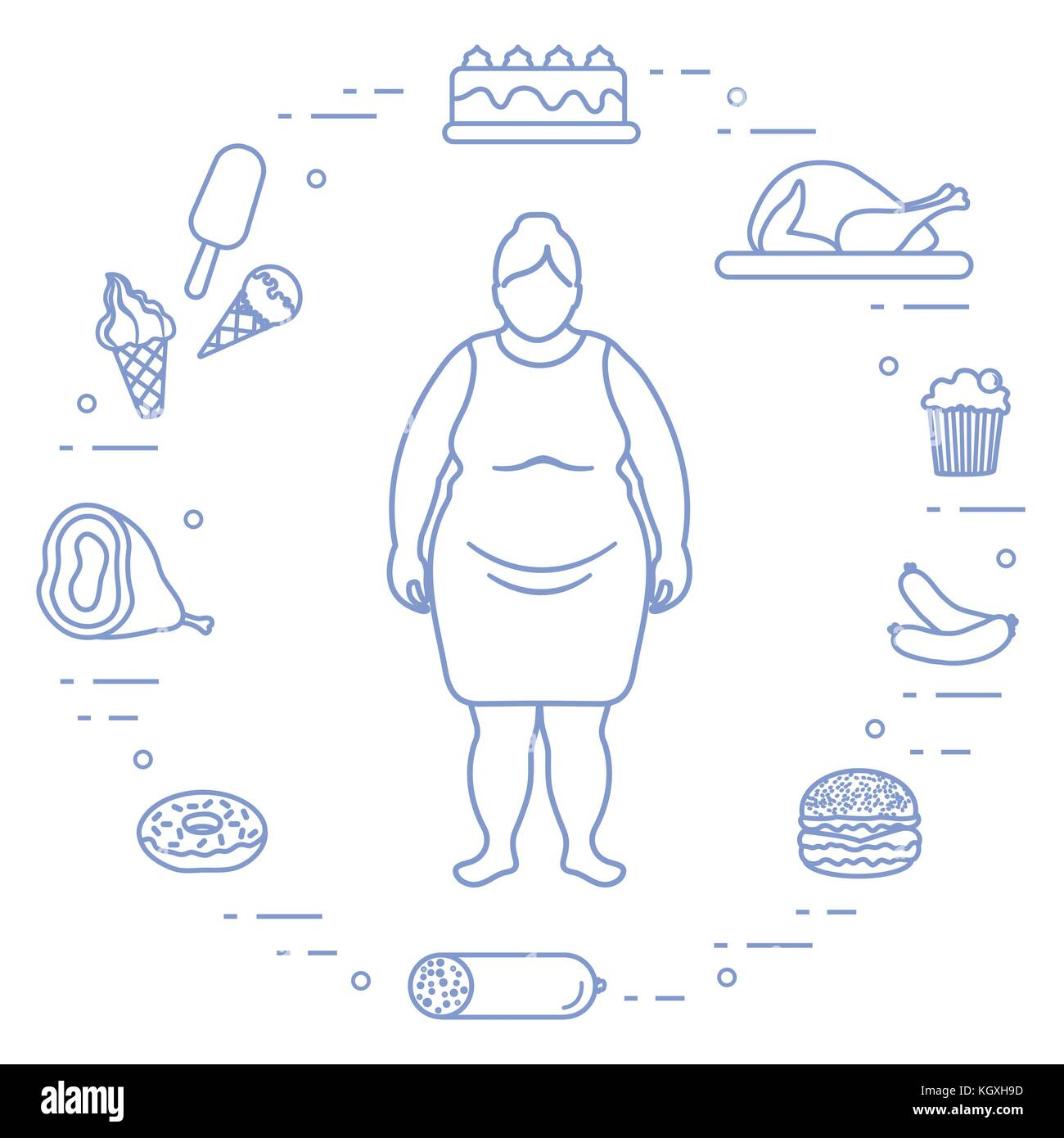 hight resolution of fat woman with unhealthy lifestyle symbols around her harmful eating habits design for banner and print