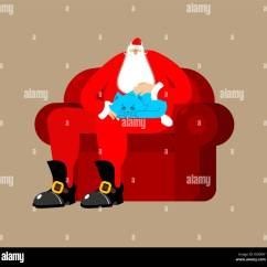 Santa Chair Covers Australia One And Half Slipcover Stroking Pet Winter Stock Photos