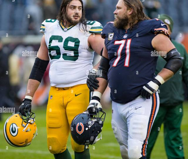 Bears 71 Josh Sitton And Packers 69 David Bakhtiari Talk Before The Nfl Game Between The Green Bay Packers And Chicago Bears At Soldier Field