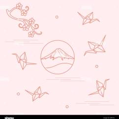 Origami Paper Crane Diagram 2002 Chevrolet Silverado Stereo Wiring Branch Of Cherry Blossoms Mount Fuji And Cranes Set Japan Traditional Design Elements