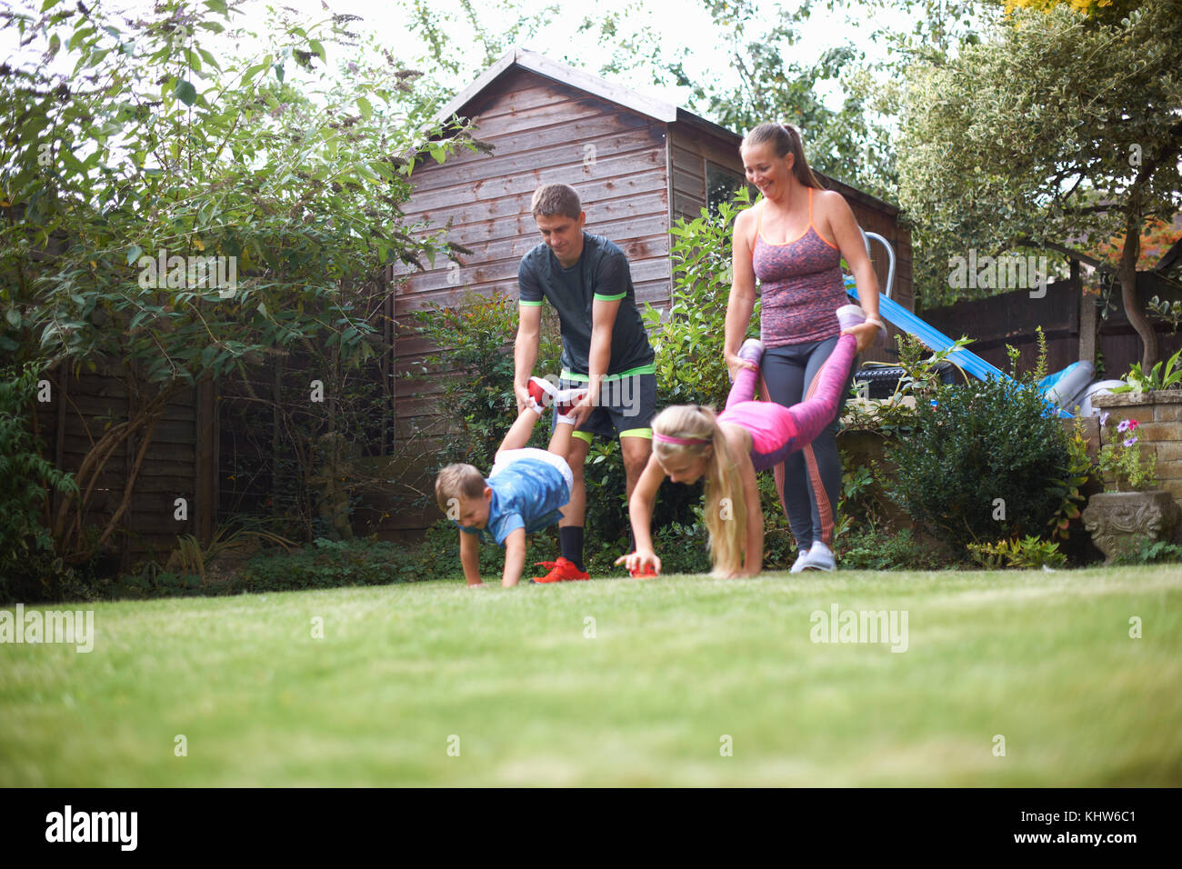 family in garden having