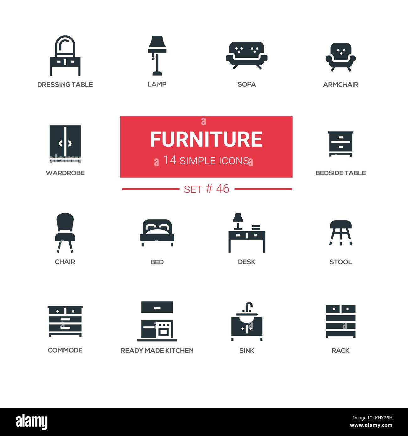 chair design icons husk replica furniture line set stock vector art illustration