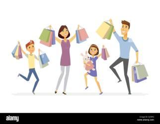 Happy family enjoys shopping cartoon people characters isolated Stock Vector Image & Art Alamy