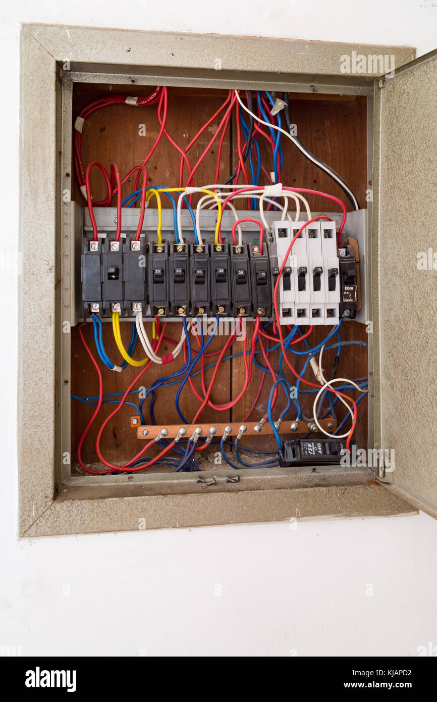 medium resolution of old circuit breaker switch cables and wires on panel is seen inside house asuncion paraguay