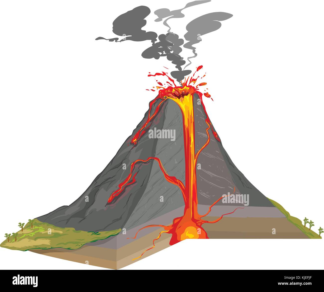 Vector Illustration Of A Cross Section Of Volcano Stock