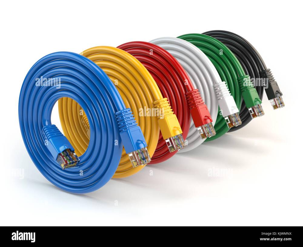 medium resolution of set of colorful of lan network connection ethernet cables internet cords rj45 isolated on white background 3d illustration