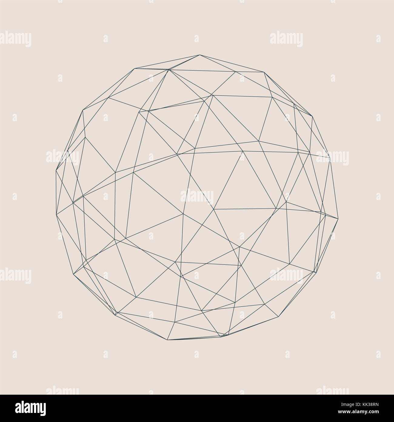 wireframe 3d sphere stock