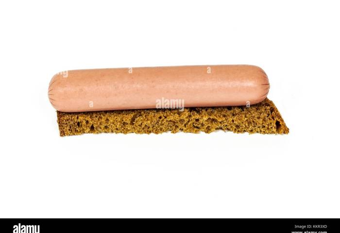 On A White Background There Is A Sandwich Of Black Bread And A Meat