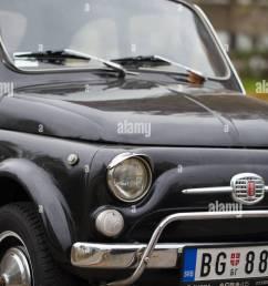 front close up of old black fiat 500 on the street of new belgrade belgrade [ 866 x 1390 Pixel ]