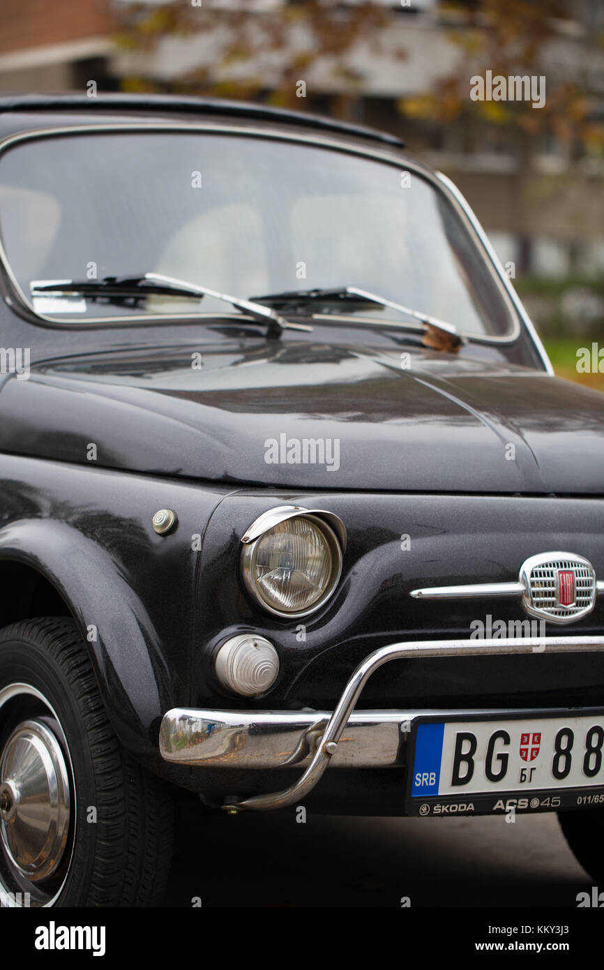 hight resolution of front close up of old black fiat 500 on the street of new belgrade belgrade