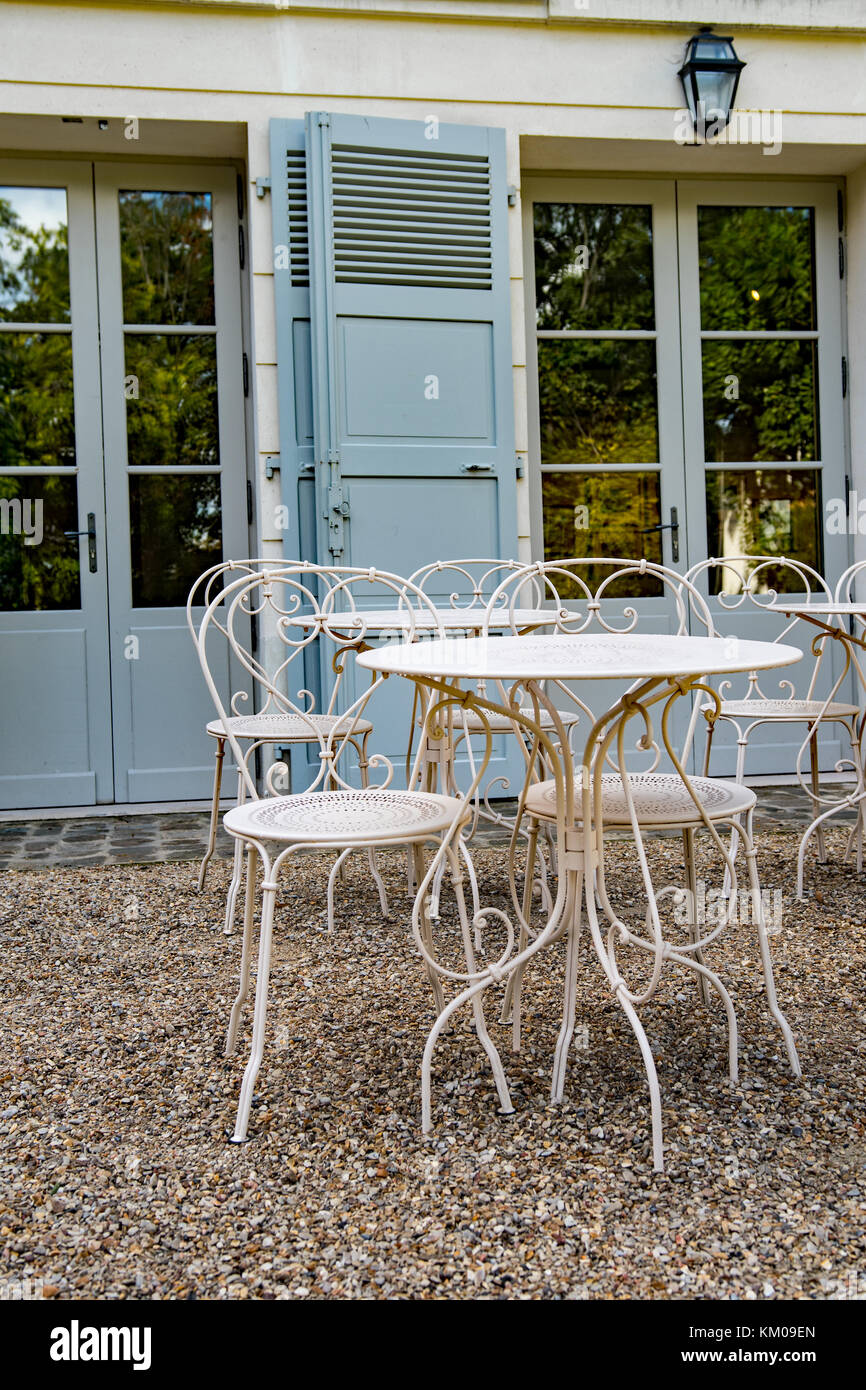 parisian cafe table and chairs big tall lawn vintage tables of an outdoors in paris stock photo