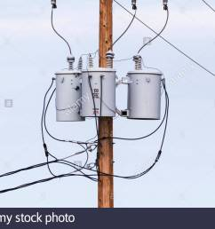 three phase power transformers on pole in arizona usa [ 1300 x 956 Pixel ]